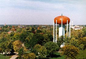 city water tower designed to look like a giant pumpkin